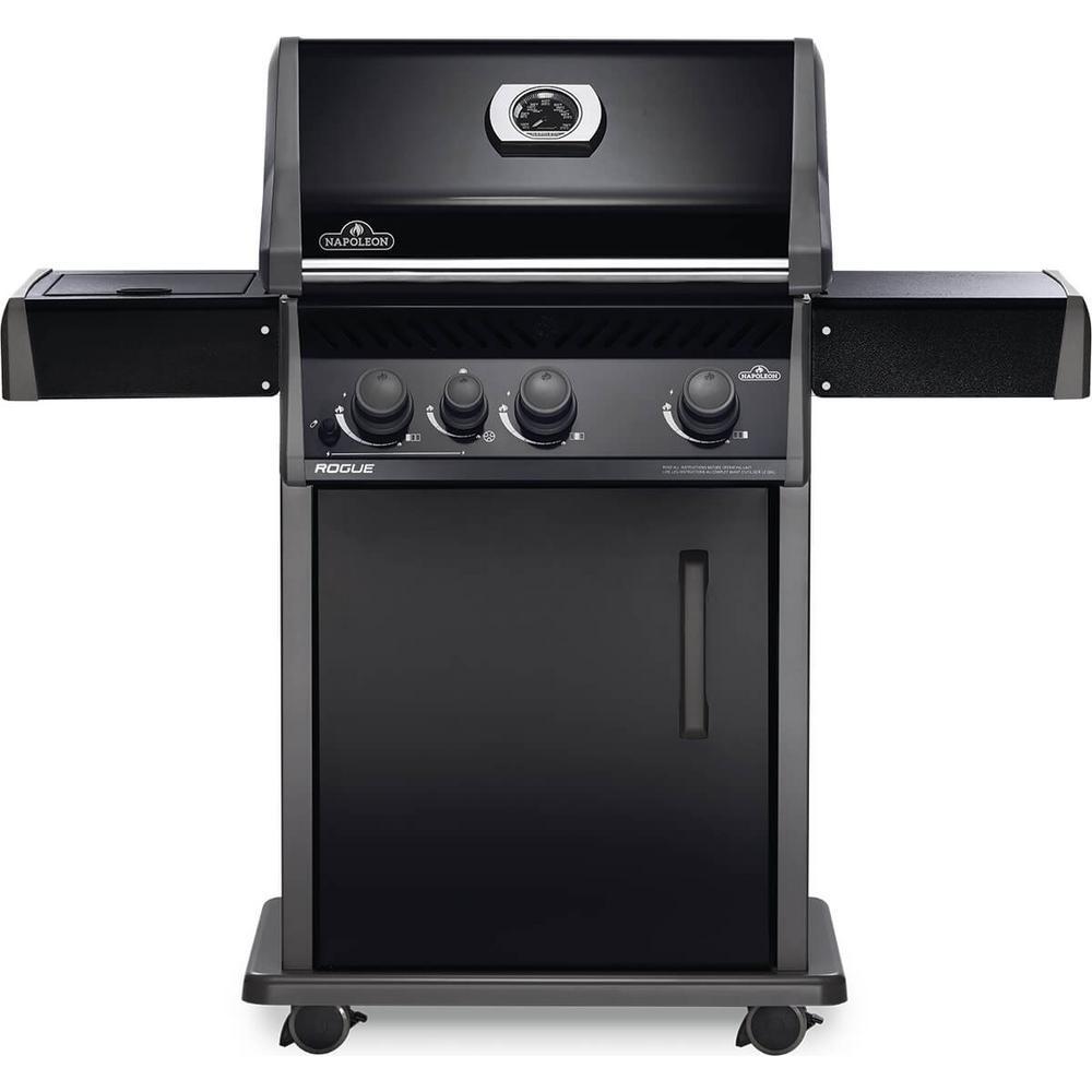Rogue 3-Burner Natural Gas Grill with Range Side Burner in Black