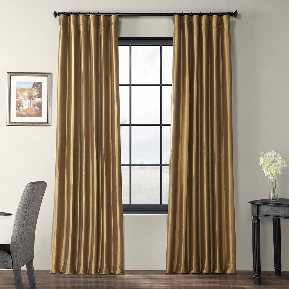Gold Nugget Faux Silk Taffeta Light Filtering Curtain - 50 in. W x 96 in. L