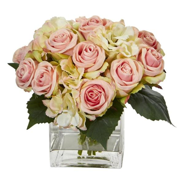 Nearly Natural Indoor Rose and Hydrangea Bouquet Artificial Arrangement in Vase