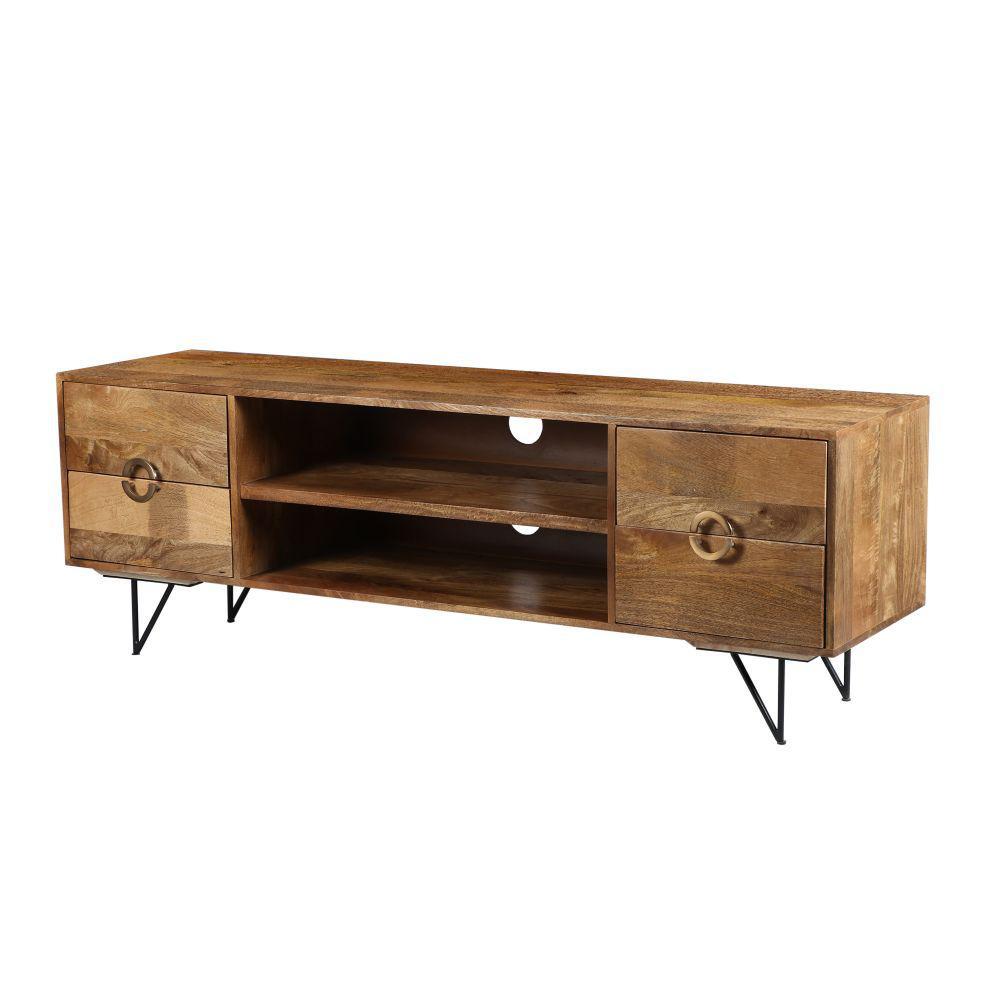 Brown and Black 63 in. Spacious Storage Mango Wood TV Cabinet