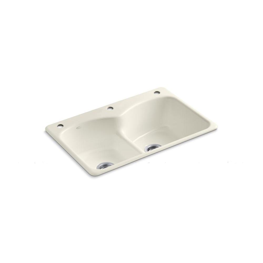 KOHLER Langlade Smart Divide Drop-In Cast-Iron 33 in. 3-Hole Double Basin Kitchen Sink in Biscuit