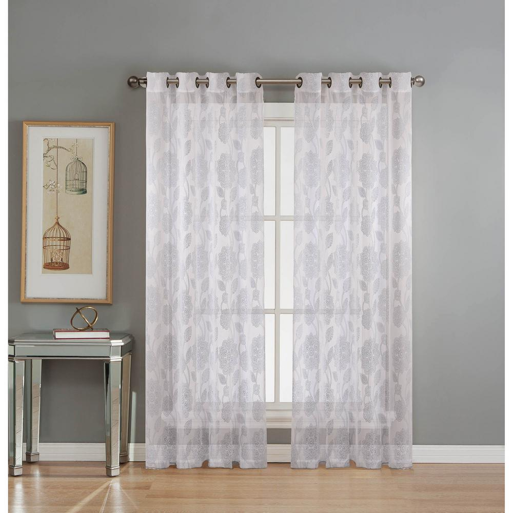 Window Elements Sheer Avery Cotton Blend Burnout Sheer Extra Wide 84 In L Grommet Curtain Panel