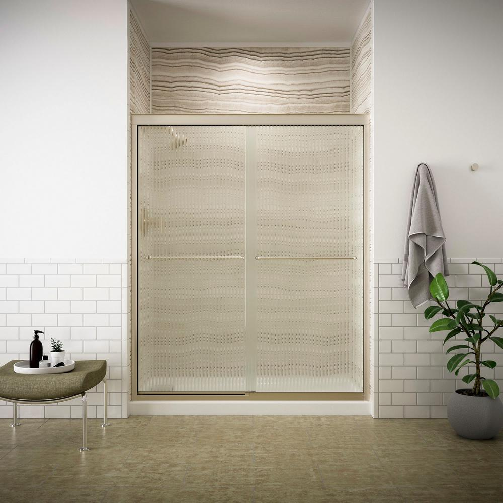 Fluence 59-5/8 in. x 70-3/8 in. Semi-Frameless Sliding Shower Door in