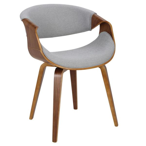 Curvo Bent Wood Walnut and Grey Dining/Accent Chair