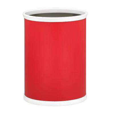 Bartenders Choice Fun Colors Red 13 Qt. Oval Waste Basket