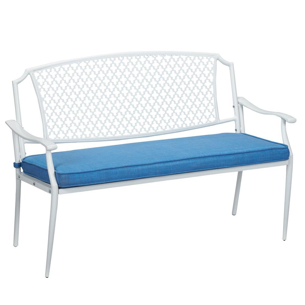 Hampton Bay Alveranda Metal Outdoor Bench with Periwinkle Cushion ...