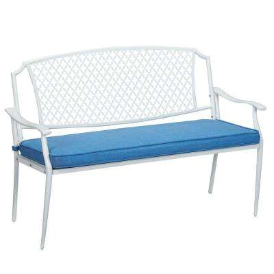 Alveranda Metal Outdoor Bench with Periwinkle Cushion