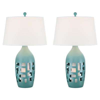 31 in. Teal Indoor Table Lamp Set