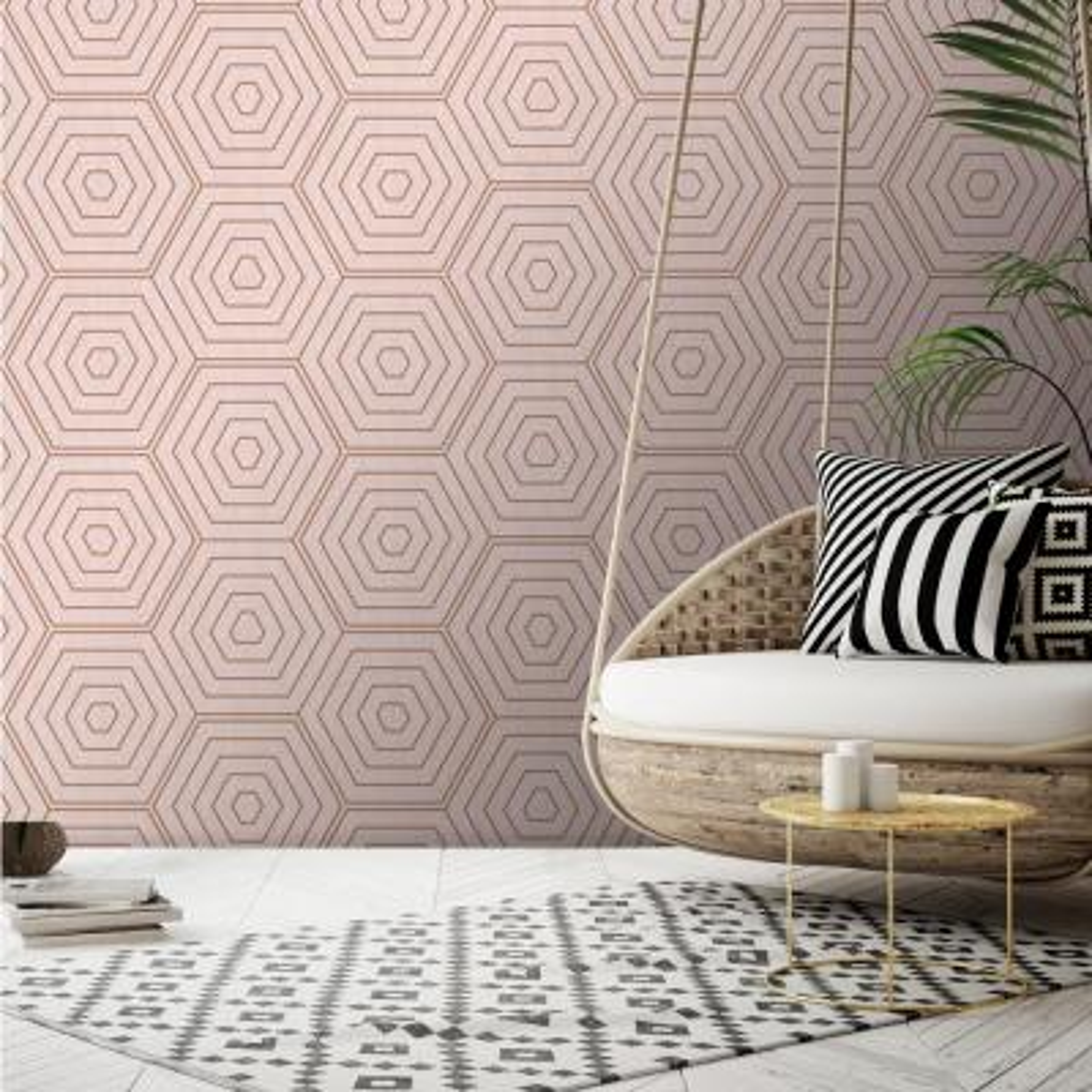 Aztec Pink Foil Hexagons Wallpaper