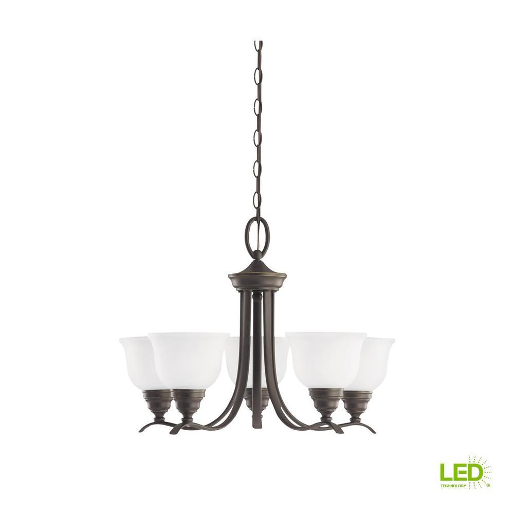 Wheaton 5-Light Heirloom Bronze Chandelier with LED Bulbs