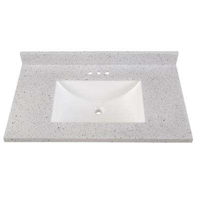 Outstanding 37 In Solid Surface Vanity Top In Silver Ash With White Sink Home Interior And Landscaping Eliaenasavecom