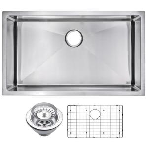 Water Creation SSS-U-3018B 30 X 18 Single Bowl Stainless Steel Hand Made Undermount Kitchen Sink with Cove Corner Drain and Strainer Premium Scratch Resistant Satin Stainless Steel