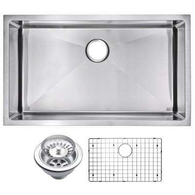 Undermount Stainless Steel 32 in. Single Bowl Kitchen Sink with Strainer and Grid in Satin