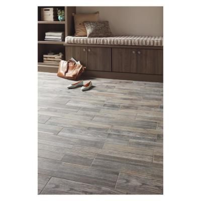 Pewter Wood 6 in. x 24 in. Glazed Porcelain Floor and Wall Tile (14.55 sq. ft. / case)