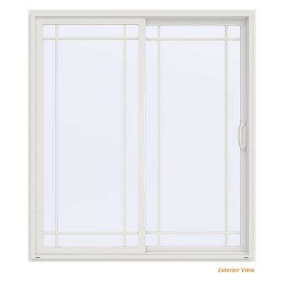 72 in. x 80 in. V-4500 Contemporary White Vinyl Right-Hand 9 Lite Sliding Patio Door