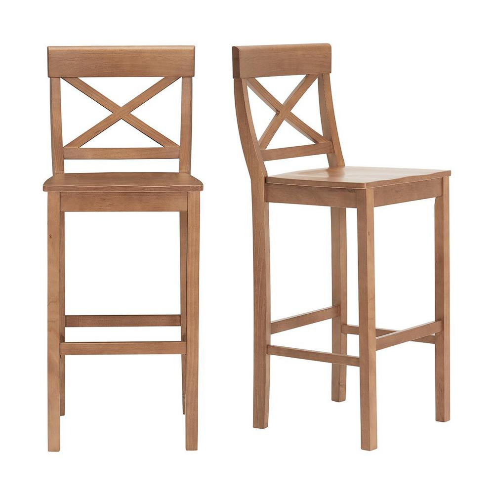 StyleWell Cedarville Patina Oak Finish Bar Stool with Cross Back (Set of 2) (19.42 in. W x 44.15 in. H) was $179.0 now $107.4 (40.0% off)