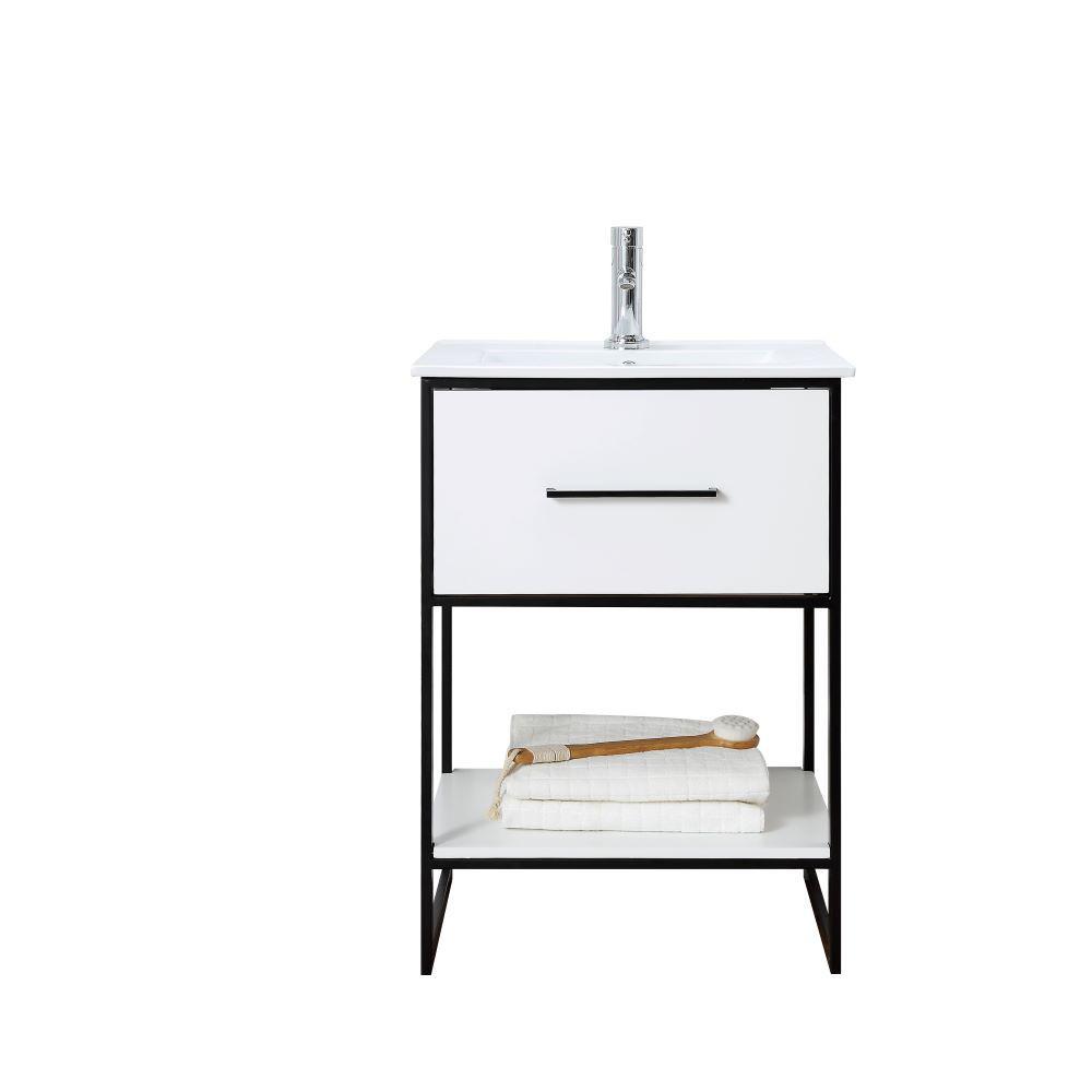 24 in. W x 18.5 in. D Vanity in White with Ceramic Top in White with White Basin