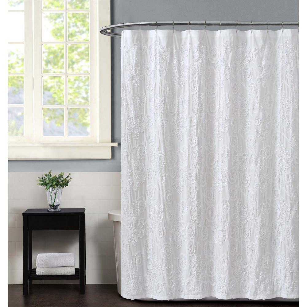 Christian Siriano Pretty Petals 72 in. White Shower Curtain-SC2738WT ...