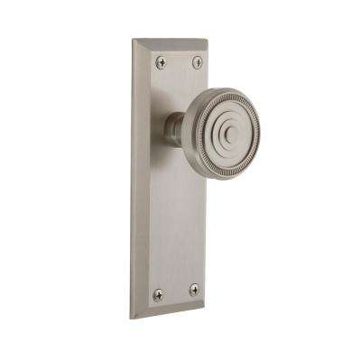 Fifth Avenue Plate 2-3/8 in. Backset Satin Nickel Passage Hall/Closet with Soleil Door Knob
