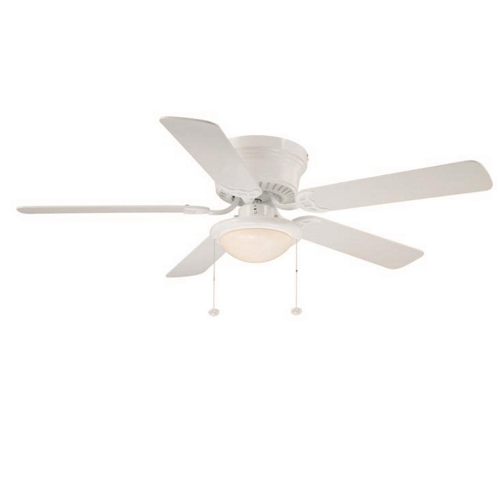 Hugger 52 In. LED Indoor White Ceiling Fan With Light Kit