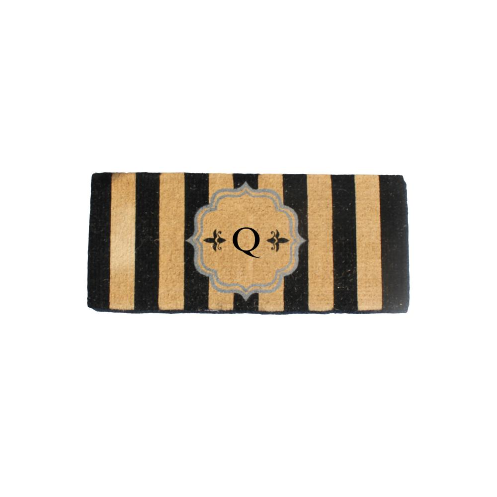 A1HC First Impression Haywood 24 in. x 57 in. Coir Entry Double Monogrammed Q Door Mat