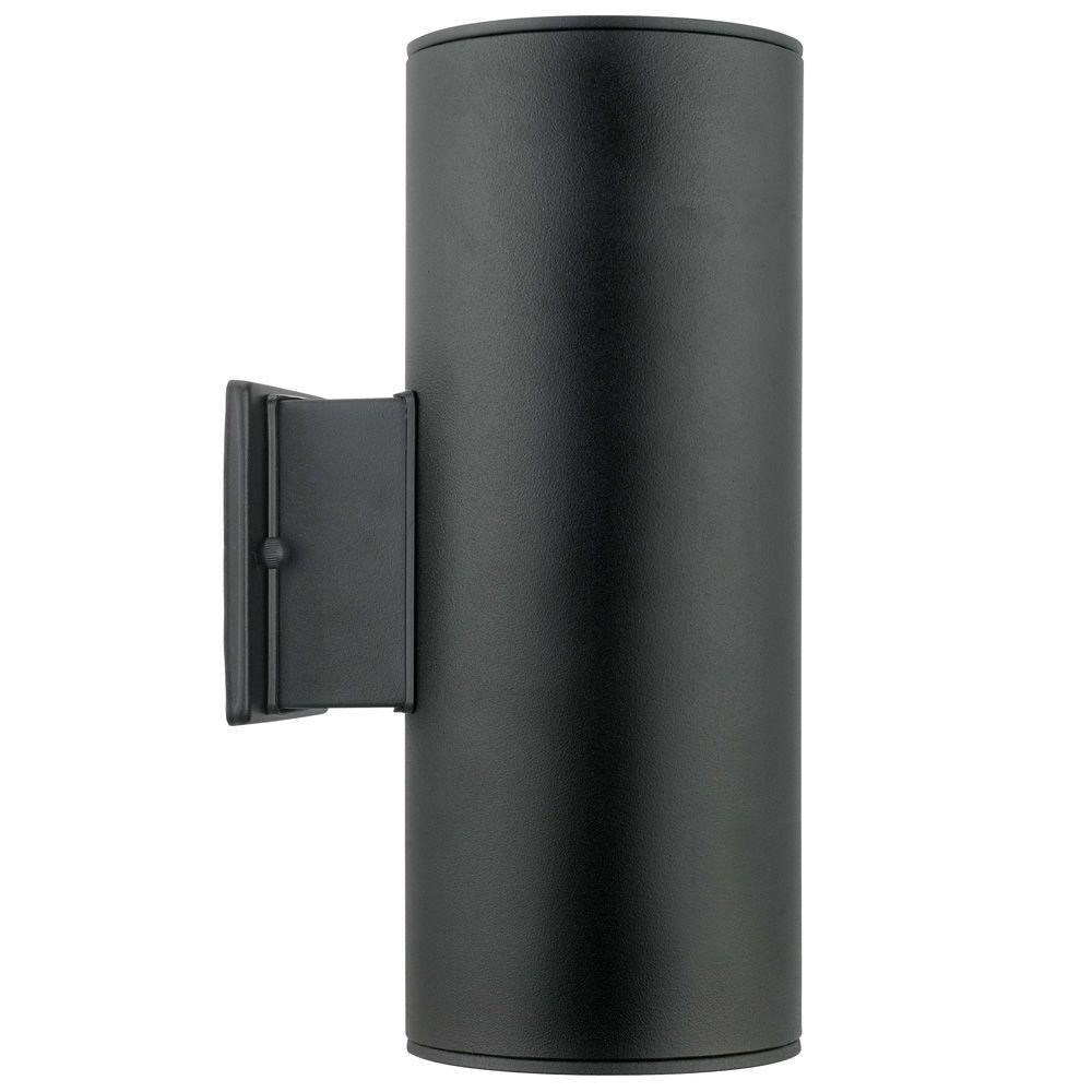 null ascoli 2light black outdoor wallmount light