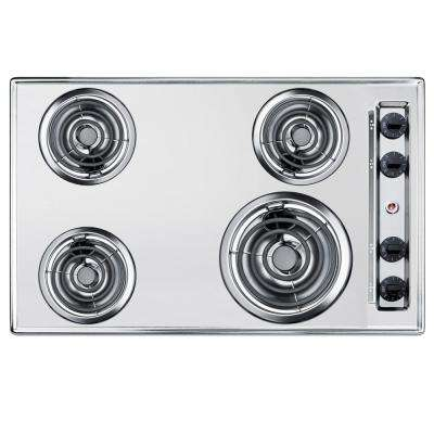 30 in. Coil Top Electric Cooktop in Chrome with 4 Elements