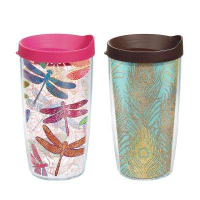 Dragonfly and Glittery Peacock Feathers 16 oz. Tumbler