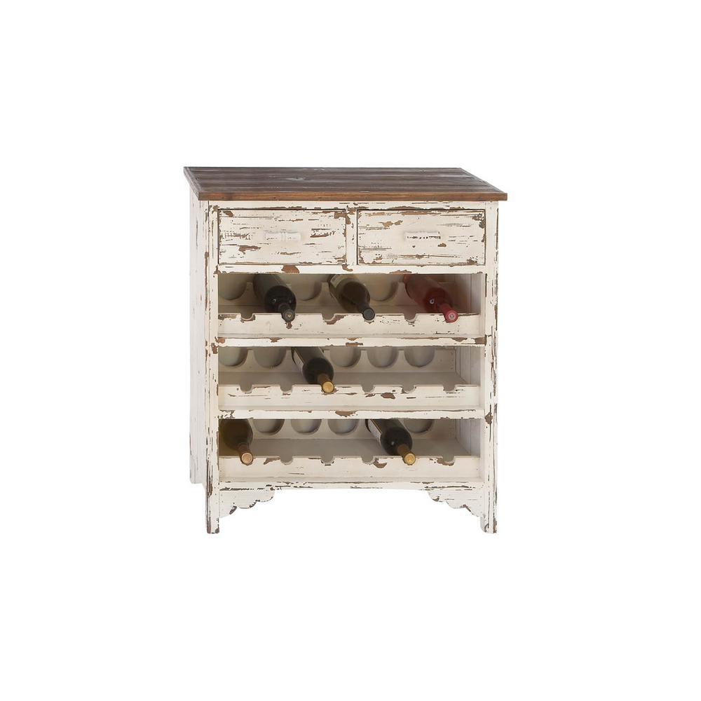 18-Bottle Distressed wood Bar Cabinet