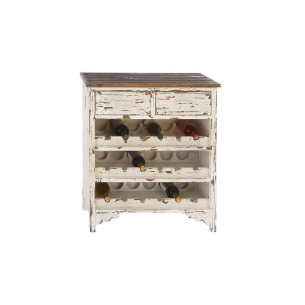 Litton Lane 18-Bottle Distressed wood Bar Cabinet 35019