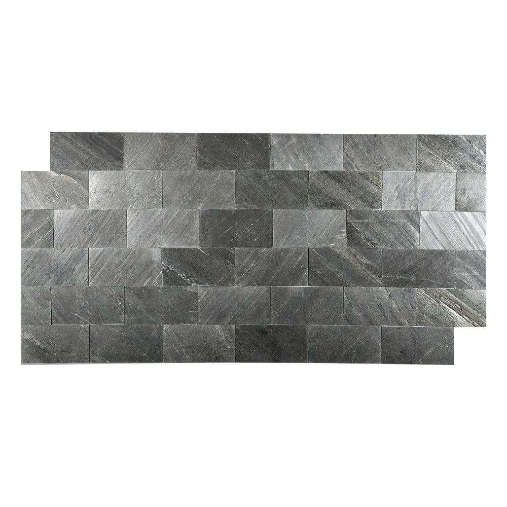 Faststone black line 3 in x 6 in slate peel and stick wall tile slate peel and stick wall tile dailygadgetfo Gallery