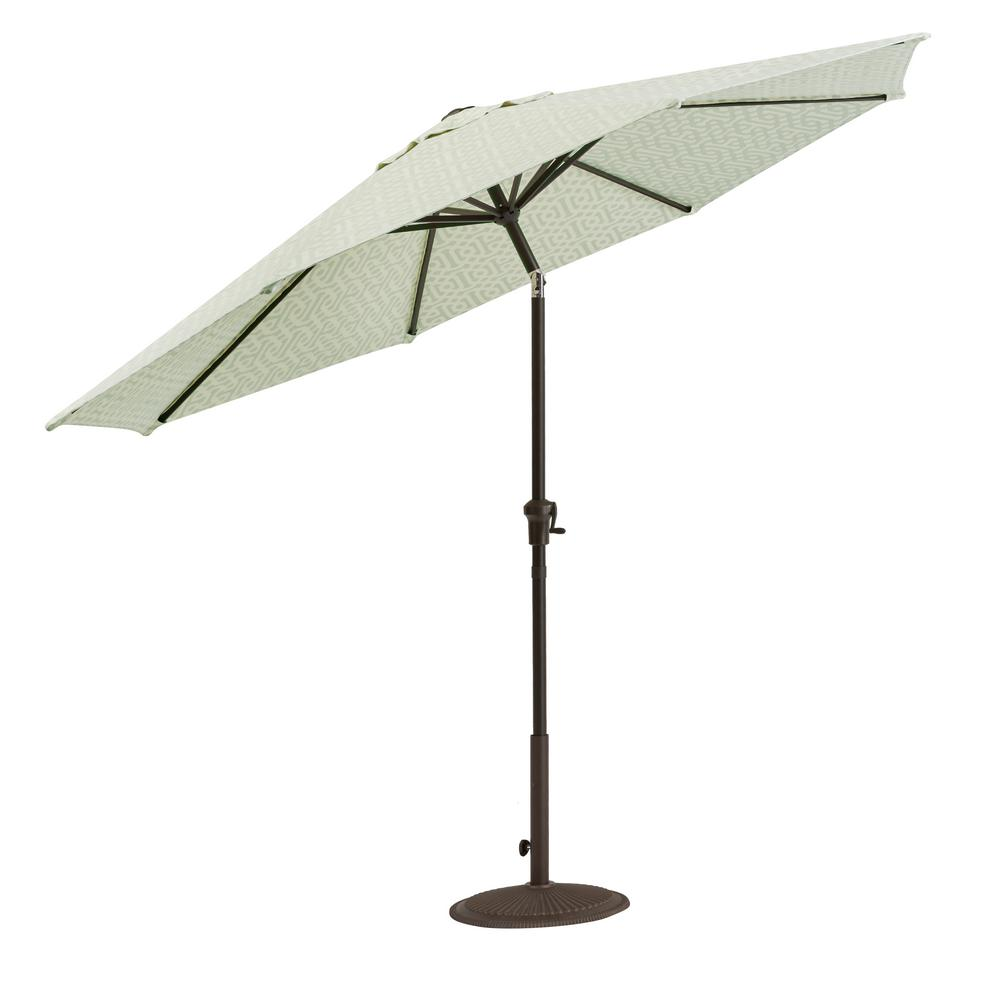 Home Decorators Collection Camden 9 Ft. Aluminum Crank Patio Umbrella In  Fretwork Mist