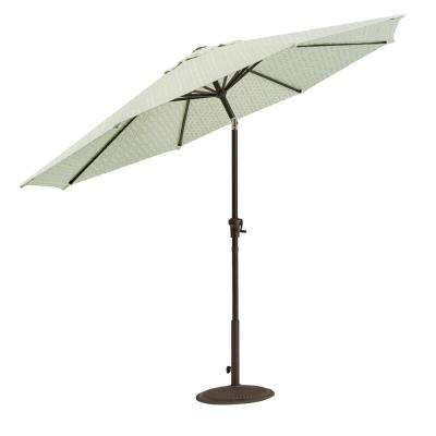 Camden 9 ft. Aluminum Crank Patio Umbrella in Fretwork Mist