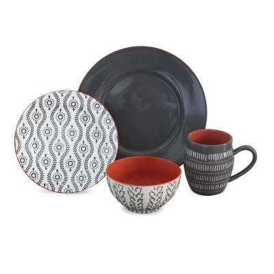 Tangiers  16-Piece Grey Dinnerware Set