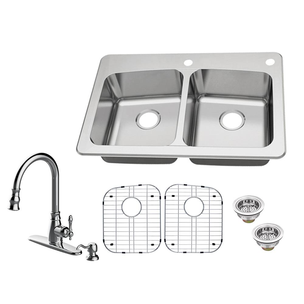 glacier bay all in one kitchen sink glacier bay all in one dual mount 18 stainless steel 9224