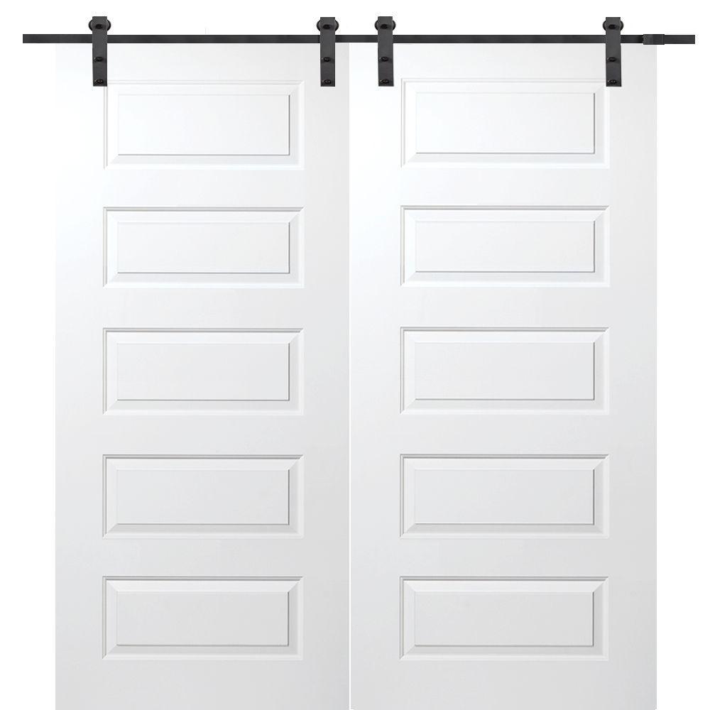 Interior double door hardware - Mmi Door 72 In X 80 In Primed Rockport Smooth Surface Solid Core Double