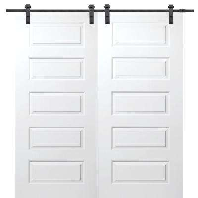 72 in. x 80 in. Primed Rockport Smooth Surface Solid Core Double Door with Barn Door Hardware Kit