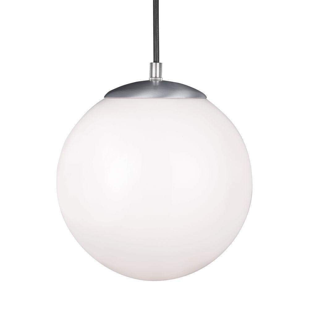 Sea Gull Lighting Hanging Globe 1-Light Satin Aluminum Pendant ...