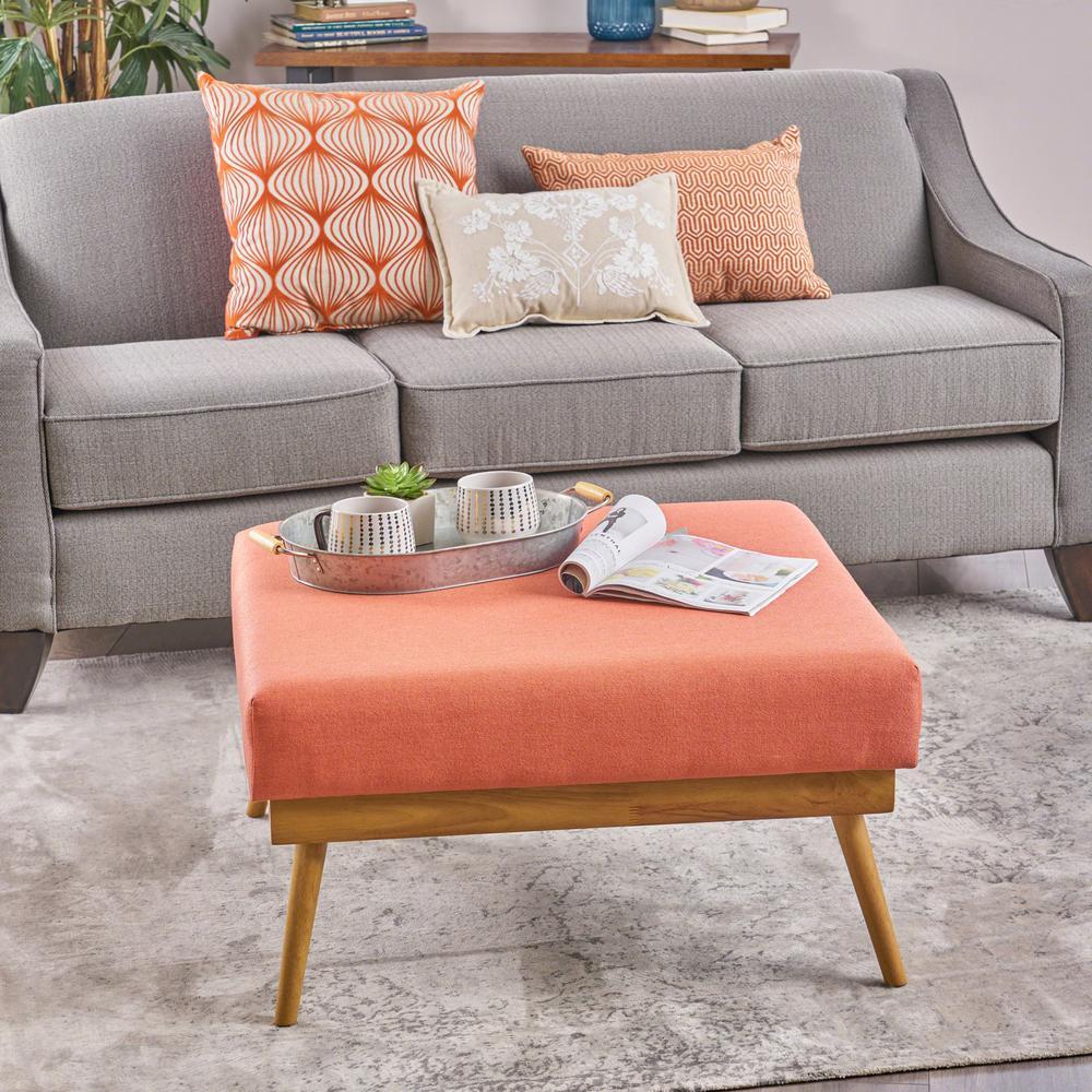 Wondrous Noble House Elijah Mid Century Modern Square Coral Fabric Beatyapartments Chair Design Images Beatyapartmentscom