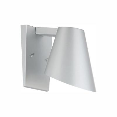 Walker 6 in. Silver Integrated LED Outdoor Wall Lantern Sconce
