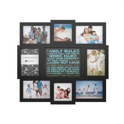 8-Opening 4 in. x 6 in. and 4 in. x 4 in. Family Rules Black Picture Frame Collage