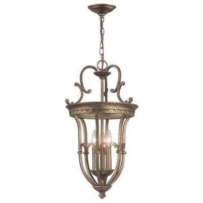 3-Light Distressed Brass Pendant