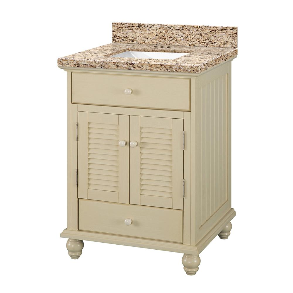 Home Decorators Collection Cottage 25 in. W x 22 in. D Vanity in Antique White with Granite Vanity Top in Giallo Ornamental with White Sink