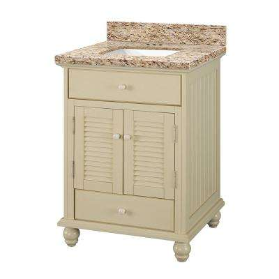 Cottage 25 in. W x 22 in. D Vanity in Antique White with Granite Vanity Top in Giallo Ornamental with White Sink