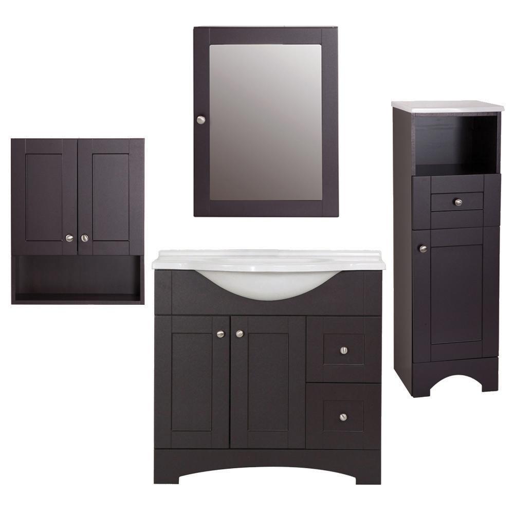 Del Mar 4-Piece Bath Suite in Espresso with 37 in. Bath Vanity with Top, Linen Cabinet, Wall Cabinet, Medicine Cabinet