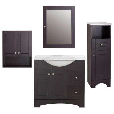 Del Mar 4-Piece Bath Suite in Espresso with 37 in. Bath Vanity with Top, Linen Cabinet, Wall Cabinet, Medicine Cabinet