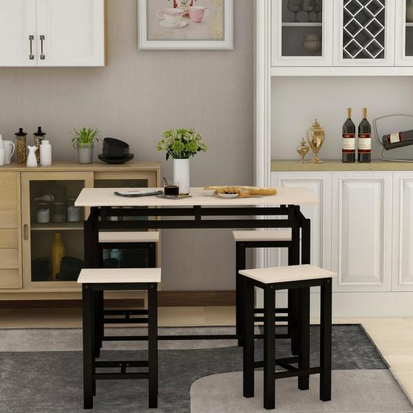5-Piece Beige Wood and Metal Accent Dining Set