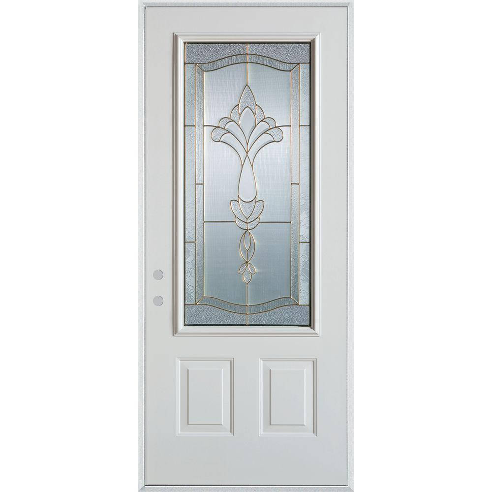 32 in. x 80 in. Traditional Patina 3/4 Lite 2-Panel Painted