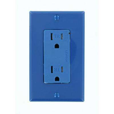 Decora Plus 15 Amp Commercial Grade Tamper Resistant Self Grounding Duplex Surge Outlet, Blue