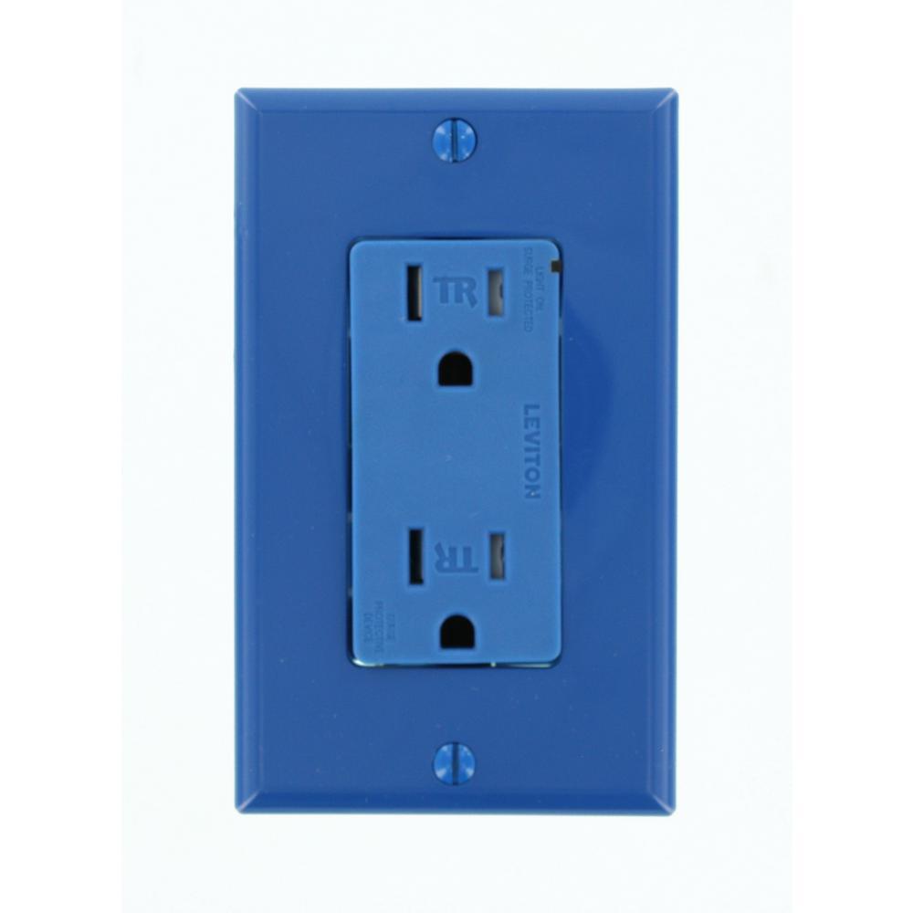 Decora Plus 15 Amp Commercial Grade Tamper Resistant Self Grounding Duplex Surge Outlet, Blue